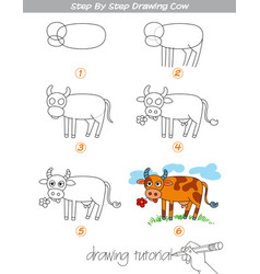 step by step drawing cow vector image vector image