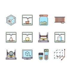 Technology of 3d printing line icons set vector