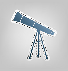 Telescope simple sign blue icon with vector