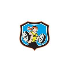 Weightlifter lifting barbell shield cartoon vector