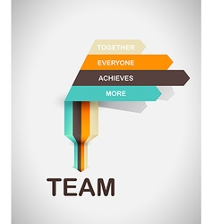 Word spell team on colorful paper stripes vector