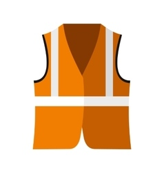 Orange safety vest icon flat style vector