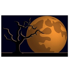 Wallpaper halloween moon tree vector image