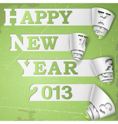 Happy new year curled strips on grunge paper vector