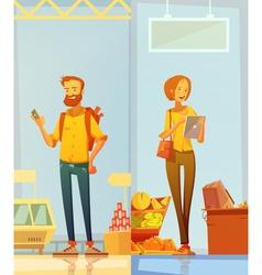Happy cartoon buyers vertical banners vector
