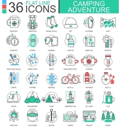 Camping adventure flat line outline icons vector
