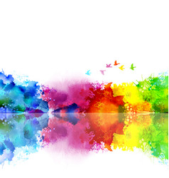 Abstract watercolor fantastic landscape with a vector