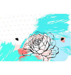 Hand drawn abstract floral collage header vector