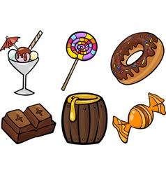 Sweet food objects cartoon set vector