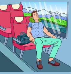 Pop art tired man sleeping in the train vector