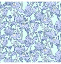 Vintage pattern with field of iris flowers vector