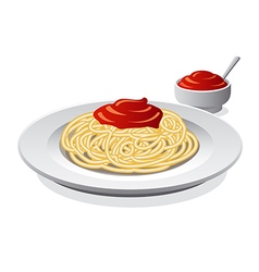 Spaghetti with sauce vector