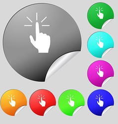 Click here hand icon sign set of eight multi vector