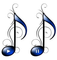 Music icon play pause vector