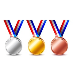 Golden silver and bronze medals isolated vector