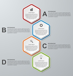 Abstract 3D hexagon business options infographics vector image