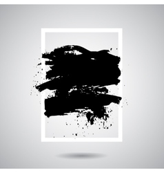 Black grunge splash in white frame modern vector