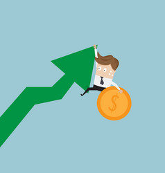 Businessman hanging on growth arrow graph with vector