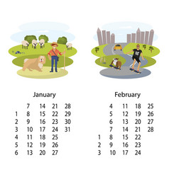 calendar 2018 january february vector image vector image