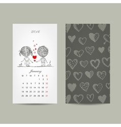 Calendar grid 2016 design Couple in love together vector image vector image