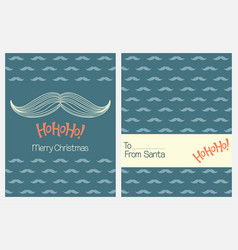 Christmas greeting cards with santas mustache vector