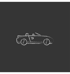 Convertible car drawn in chalk icon vector
