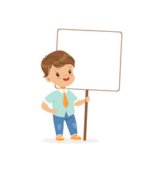 cute boy standing with blank signboard kid vector image