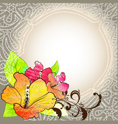 Floral background with lace vector