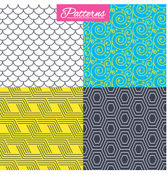 Floral ornament roof tiles and hex textures vector