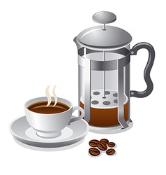 french press with coffee vector image vector image