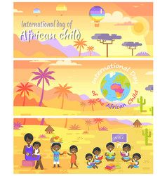 international day of african child posters set vector image vector image