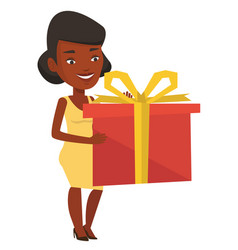 Joyful african woman holding box with gift vector