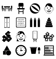 Kindergarten icons set simple style vector