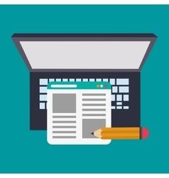 Laptop pencil and blog design vector