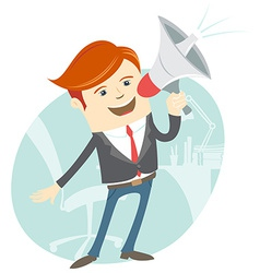 Office man megaphone shouting in front of his vector image vector image