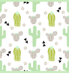 Pattern with cactus and desert elements vector