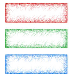 Red green and blue sketch banners vector