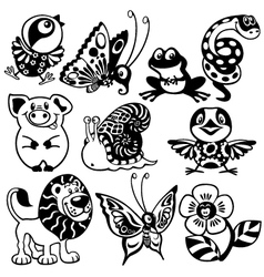 set of black white animals for children vector image vector image