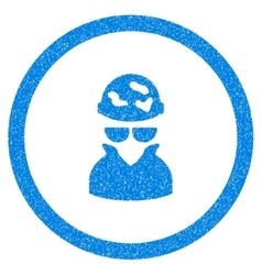 Spotted spy rounded icon rubber stamp vector