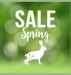 Spring sale poster with blurred background vector