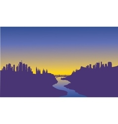 Sunrise city on the river vector