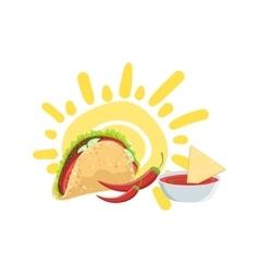Taco and nachos mexican culture symbol vector