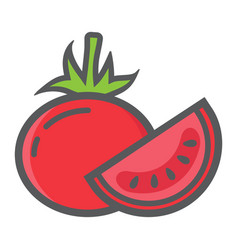 Tomato colorful line icon vegetable and diet vector
