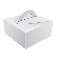 White gift packaging box with handle mockup for vector