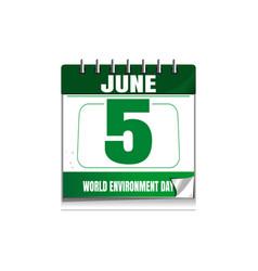 World environment day wall calendar 5 june vector