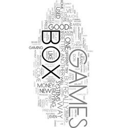X box games text word cloud concept vector