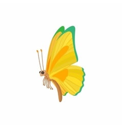 Yellow-green butterfly icon cartoon style vector image vector image