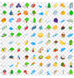 100 viable icons set isometric 3d style vector
