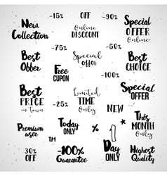 Shopping typography set vector