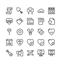 Love and valentine line icons 17 vector